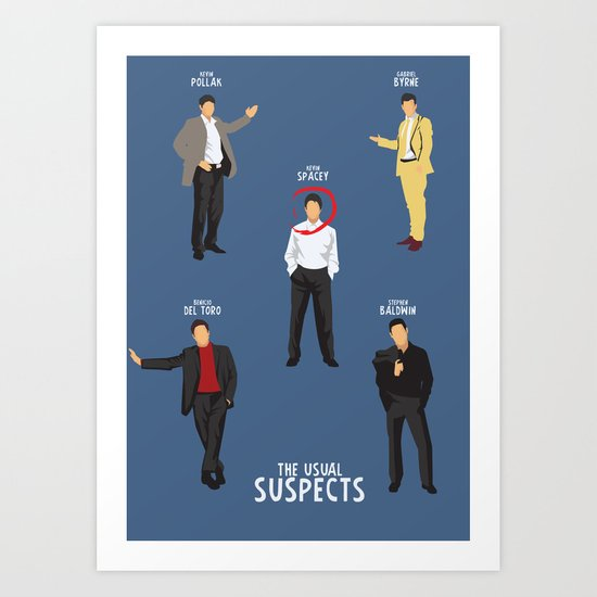 The Usual Suspects, Kevin Spacey, Alternative Movie Poster, Bryan Singer, Benicio Del Toro, G. Byrne Art Print