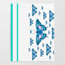 CONTEMPORARY LAGOON BLUE BUTTERFLIES MODERN ART Poster