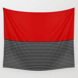 Half thin striped red Wall Tapestry