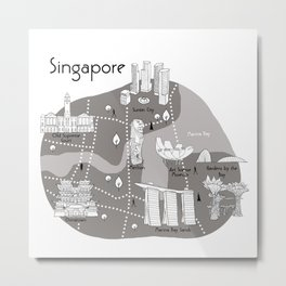 Mapping Singapore - Grey Metal Print