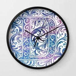 Letter D Antique Floral Letterpress Monogram Wall Clock
