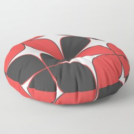 Mid-Century Modern Art - Flower Pattern Black Red Floor Pillow
