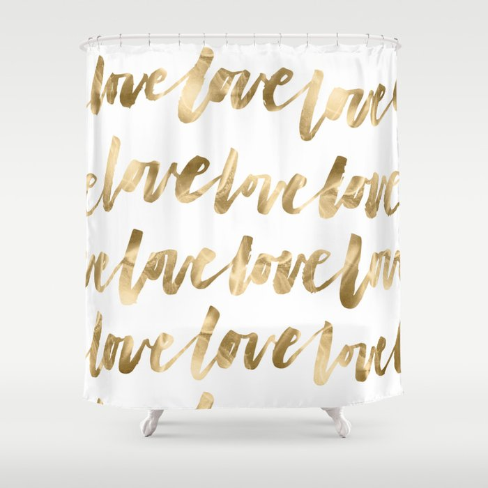 Gold Love Quote Pattern Typography Script Shower Curtain By Naturemagick
