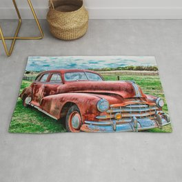 Oldsters Classic Car Vintage Automobile Old Rusty Rug
