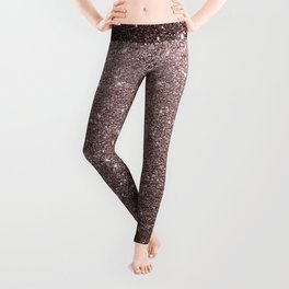Modern mauve burgundy rose gold glitter Leggings