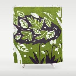 Hedgehog in Autumn Woods - Moss Green Palette Shower Curtain
