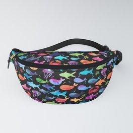 Watercolor Rainbow Fish Under The Sea Black Fanny Pack