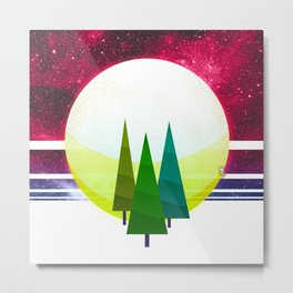 057 - three brother trees standing before the cosmic moonrise Metal Print