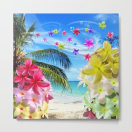 Tropical Beach and Exotic Plumeria Flowers Metal Print