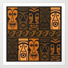 Sunset Orange Tikis! Art Print