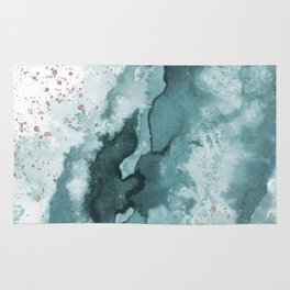 Watercolor meets Glitter - Turquoise Rose Gold - No 2 Rug