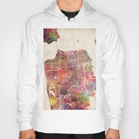 san francisco Hoodies featuring San Francisco map by MapMapMaps.Watercolors