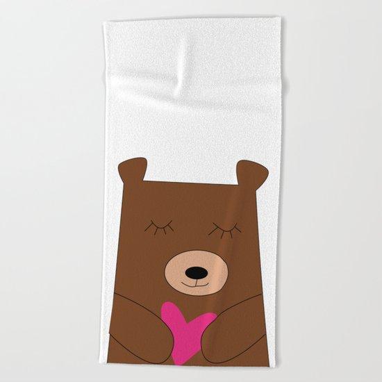 Bear in love Teal Beach Towel