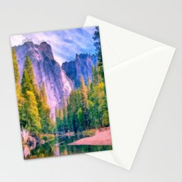 Mountain landscape with forest and river Stationery Cards