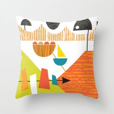 Atomic Mid Century Modern Boats Placement Print 2 Throw Pillow