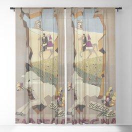 Visit Sardinia vintage Italian travel ad Sheer Curtain