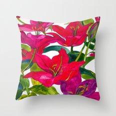 Pink Lilies Throw Pillow
