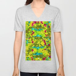 square pixel pattern abstract in yellow green blue red Unisex V-Neck