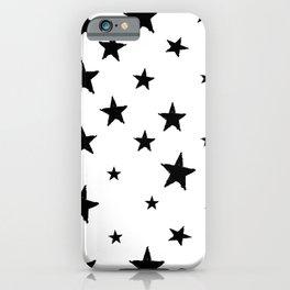 Hand-Drawn Stars (Black & White Pattern) iPhone Case