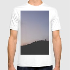 Male silhouetted on mountain top at sunset. Derbyshire, UK White MEDIUM Mens Fitted Tee