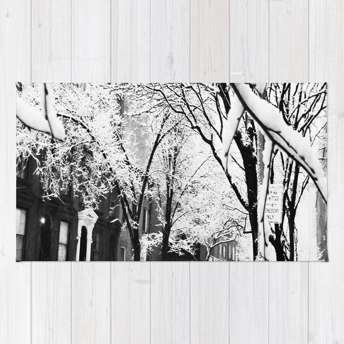Black and White Photo of the Beautiful Brooklyn Heights covered in icy snow Rug