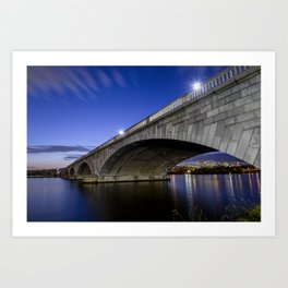 Arlington Memorial Bridge at night Art Print