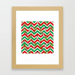 Festive Christmas Cartoons on Chevron Pattern Framed Art Print