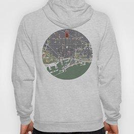 Barcelona city map engraving Hoody