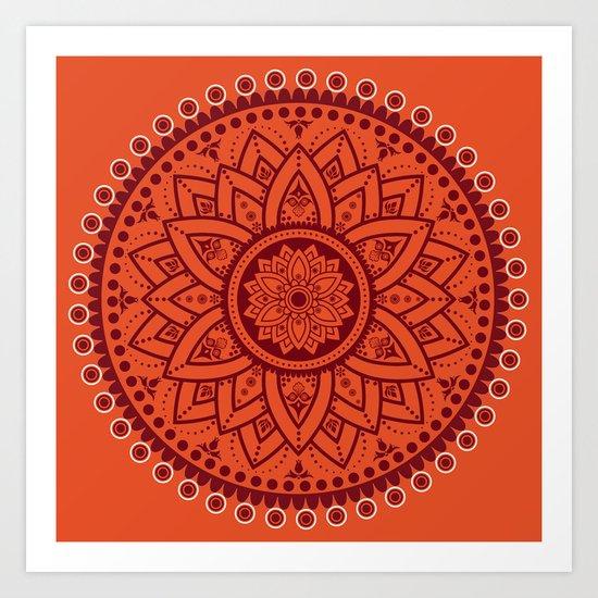 Cinnamon Spice Circle Flower Mandala Art Print