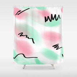 80s pastel leotard Shower Curtain