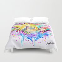 playstation Duvet Covers featuring Original - CLOUD STRIFE - Watercolor Painting - Playstation by Jonny Clingan