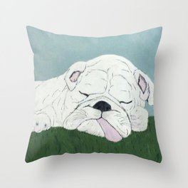 Bulldog Nap Throw Pillow