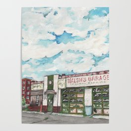 Walsh's Garage Lynn Massachusetts Art Deco Building Poster