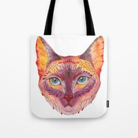 cat coquillette Tote Bags featuring cat by Ola Liola