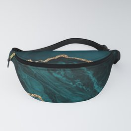 Teal Blue Emerald Marble Landscapes Fanny Pack