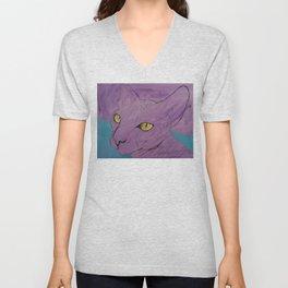 Purple Sphynx Unisex V-Neck