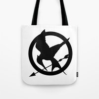 mockingjay Tote Bags featuring The MockingJay  by Lauren Lee Design's