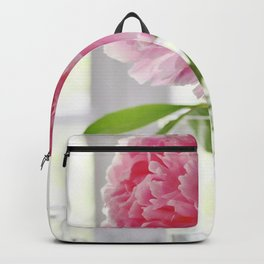 Pink peony in glass vase Backpack