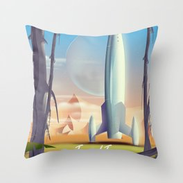 Ross 128 b Science fiction space poster Throw Pillow