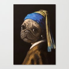 pug with a pearl earring Canvas Print
