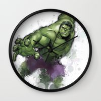 hulk Wall Clocks featuring Hulk  by Isaak_Rodriguez