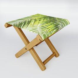 Palm leaves tropical illustration Folding Stool