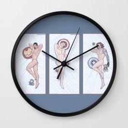 Superhero Pinup Heroic Nude Trio (Stark Spangled Winter) Wall Clock