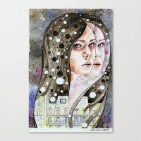 nightmare Canvas Prints featuring Nightmare by Veronika Weroni Vajdová