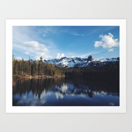 Snowy Peak and Lake Art Print