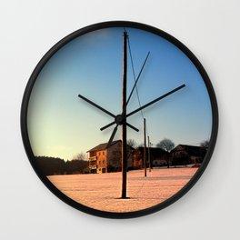 Powerline, sundown and winter wonderland   landscape photography Wall Clock