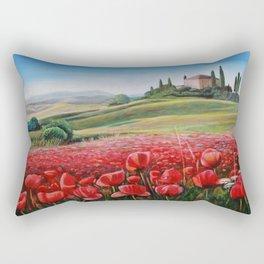 Italian Poppy Field Rectangular Pillow