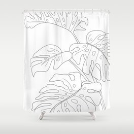Line Art Monstera Leaves Shower Curtain