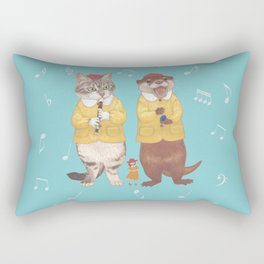 A GIRL WITH CAT and OTTER wide Rectangular Pillow