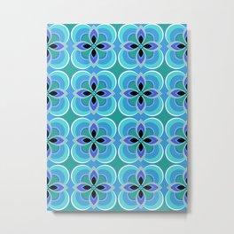 Retro 1970s Blue Floral Pattern Metal Print